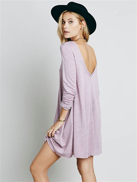 free people swing free people long sleeve swing dress in purple lyst