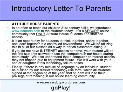 Parent Letter Explaining Edmodo Edmodo Tutorial