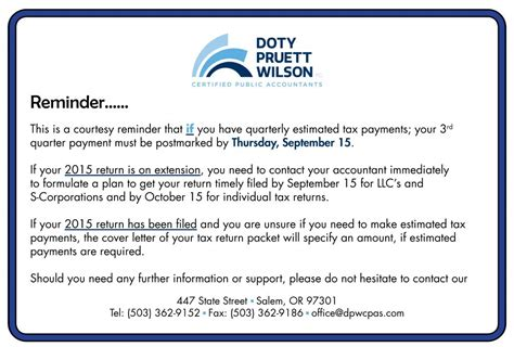 Estimated Tax Payment Reminder Letter News And Updates Cpa Tax Planning Salem Oregon Doty