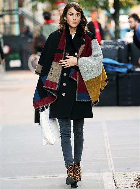 Olivia Palermo Home Decor by Alexa Chung Wears A Burberry Blanket Poncho In Nyc