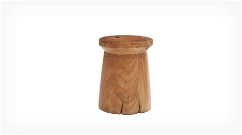 Teak Wood Stool by Eq3 Solid Teak Wood Stool