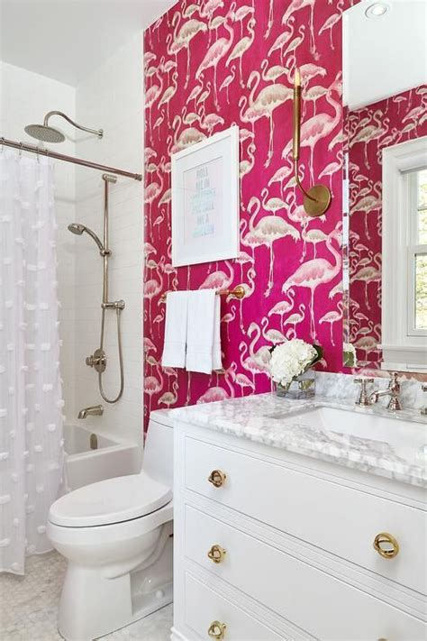 flamingo wallpaper bathroom 15 catchy bathroom wallpaper ideas shelterness