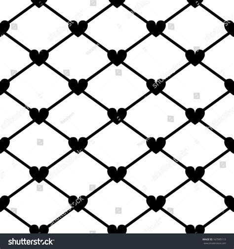 black and white mesh pattern mesh with hearts in black and white seamless pattern