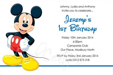 mickey mouse birthday card template 88 free invitation cards free premium templates