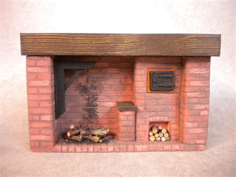 Handmade Oven - doll house colonial brick fireplace with handmade oven