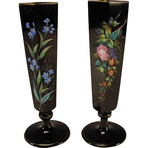 Antique Black Glass Vase by Antique Bohemian Black Amethyst Painted Enamel Glass