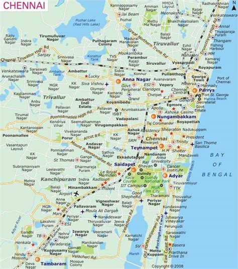 printable chennai road map city map of chennai mapsof net