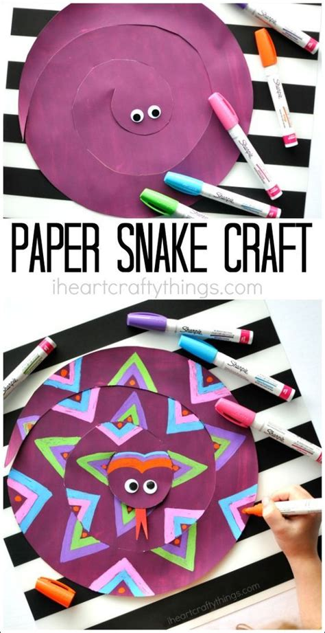 Paper Snake Craft - painted paper snake craft for summer summer kid