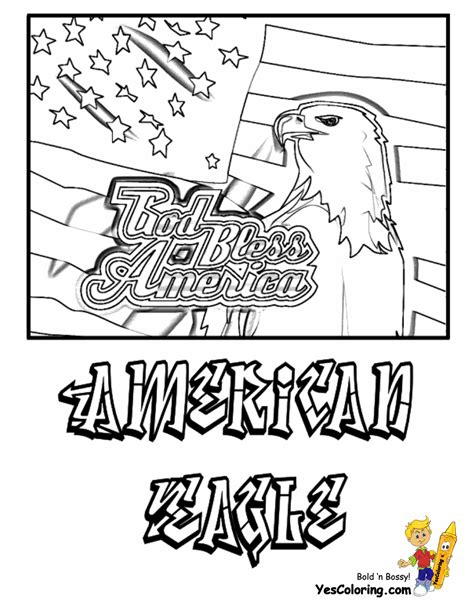 american flag and eagle fourth of july coloring page for patriotic 4th of july coloring pages 4th of july free