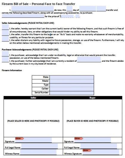 download firearm gun bill of sale form pdf word