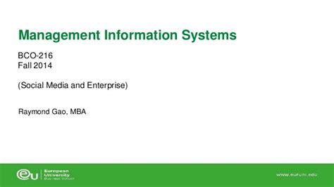 Information Systems Mba Notes by 3 Social Media And Enterprise
