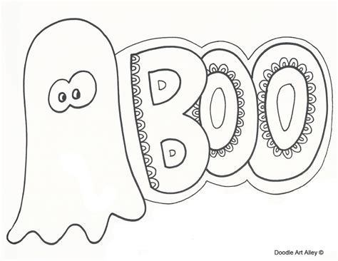 ghost boo coloring page halloween coloring pages doodle art alley