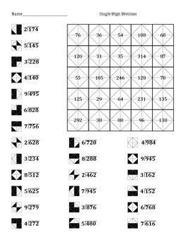 division pattern worksheet single digit division color worksheet 2 coloring