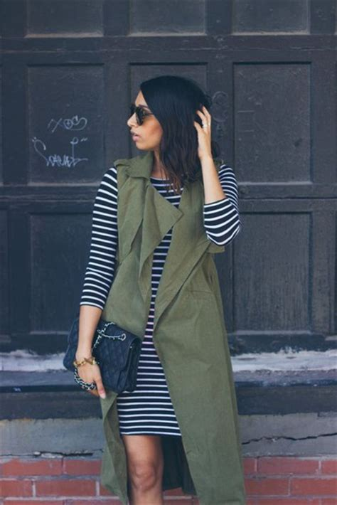 Striped Army Look Dress coat sleeveless trench striped knitted dress stripe