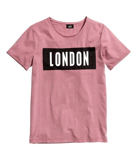 Hnm T Shirt by H M T Shirt With A Print In Pink For Lyst