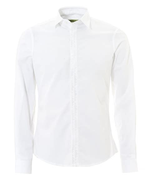 Plain Collared Coat versace mens plain white tonal sleeve collared