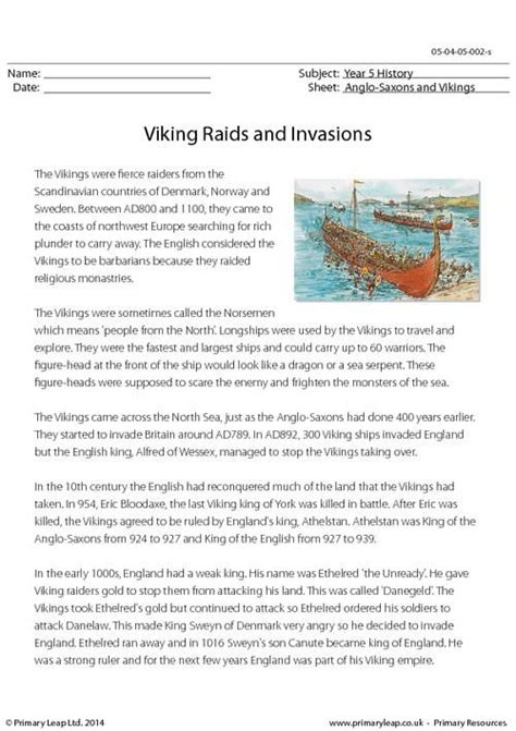 libro comprehension workbook year 5 primaryleap co uk viking raids and invasions reading comprehension worksheet history