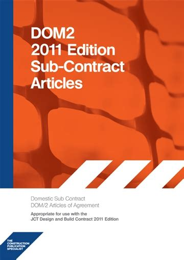 jct design and build contract scotland dom2 2011 edition sub contract articles 9781852631338