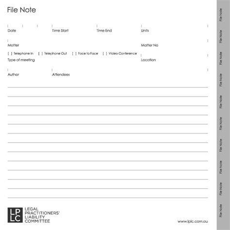 note to file template lplc file note pads practitioners liability committee