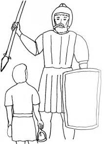 Bible Story Coloring Page For David And Goliath  Free Stories sketch template