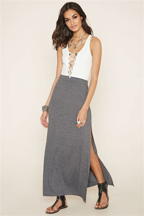forever 21 side slit maxi skirt in gray lyst