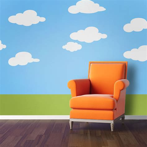 Peel And Stick Wallpaper Reviews by Cloud Wall Stencils For Baby Nursery Or Kids Room Stl1013