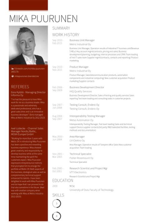 Business Unit Manager Sle Resume by Directeur De L Unit 233 D Affaires Exemple De Cv Base De Donn 233 Es Des Cv De Visualcv