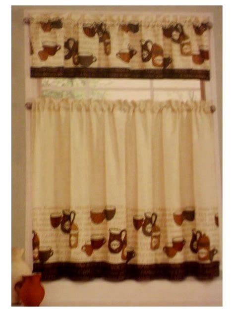 Coffee Kitchen Curtains Coffee Cup Kitchen Curtains Tiers Valance Complete Set
