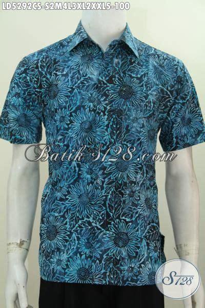 Kemeja Batik Pendek Bunga Matahari kemeja batik lengan pendek biru gradasi busana batik