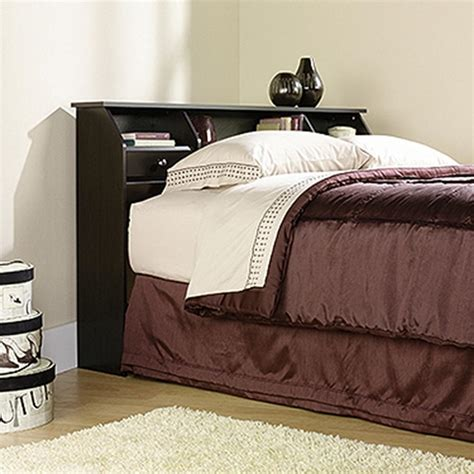 black full queen wood bookcase headboard 2 piece bedroom sauder shoal creek jamocha wood full queen headboard