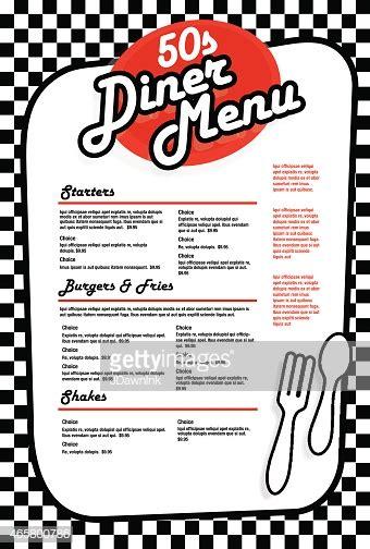 late night retro  diner menu layout red  white stock