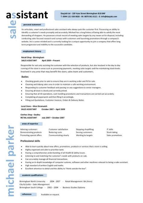 Assistant Sales Manager Sle Resume by Sales Assistant Cv Exle Shop Store Resume Retail Curriculum Vitae