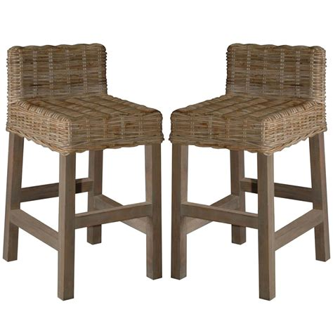 Woven Stools by Woven Rattan Gray Washed Counter Stools Coastal Style