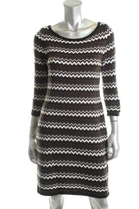 Ck Ck0102 Brown Black White calvin klein sweater dress large nwt black brown and white chevron msrp 118 dresses