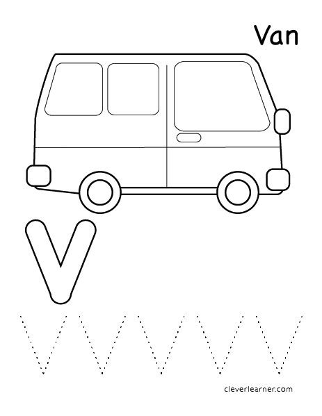 coloring page for van v is for van coloring page murderthestout