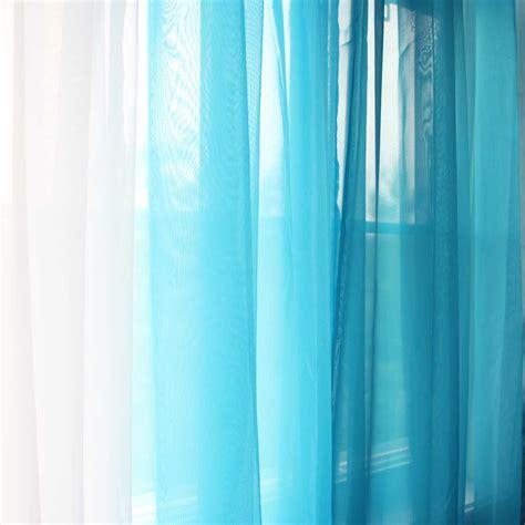 Aqua Sheer Curtains Voile Ruffle Curtain