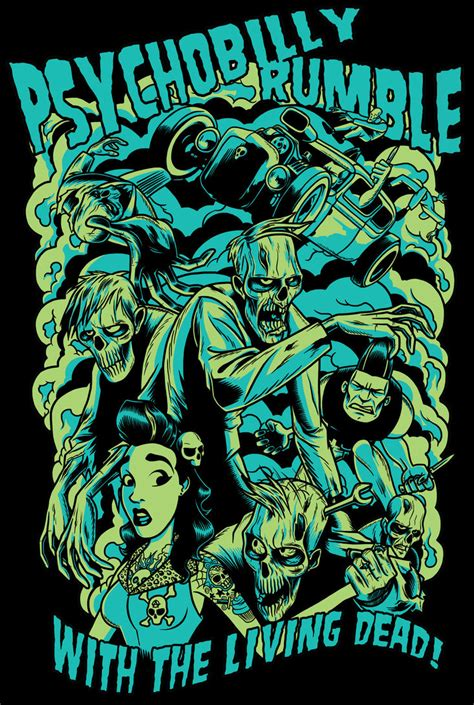 design art zombie psychobilly rumble shirt design by zombie you on deviantart