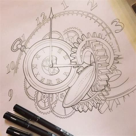 tattoo gears design broken pocket drawing zoeken drawing