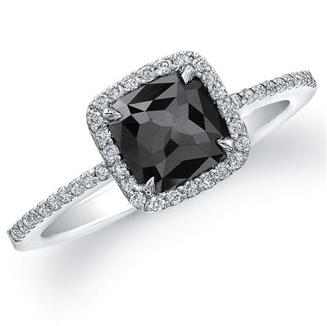 18k white gold cut black halo ring