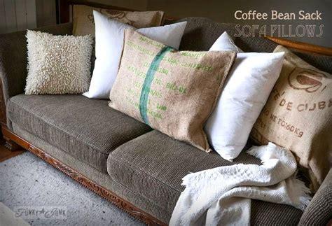 how to make sofa pillows no sew burlap coffee bean sack sofa pillowsfunky junk