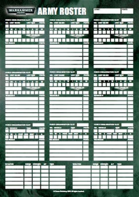 40k army list template the wraith gate 40k roster by gw