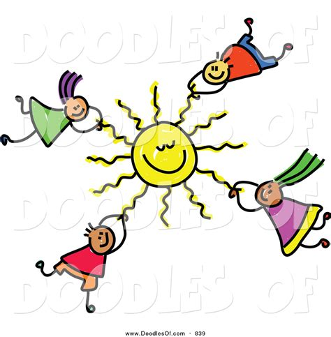 doodle clip vector clipart of a doodle of hanging onto a sun by