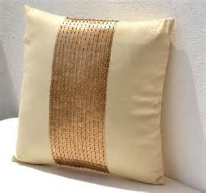 Gold Pillows Decorative Gold Pillow Covers Cream Silk Pillow Gold Sequin