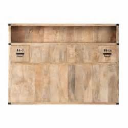 solid mango wood headboard with storage w 140cm