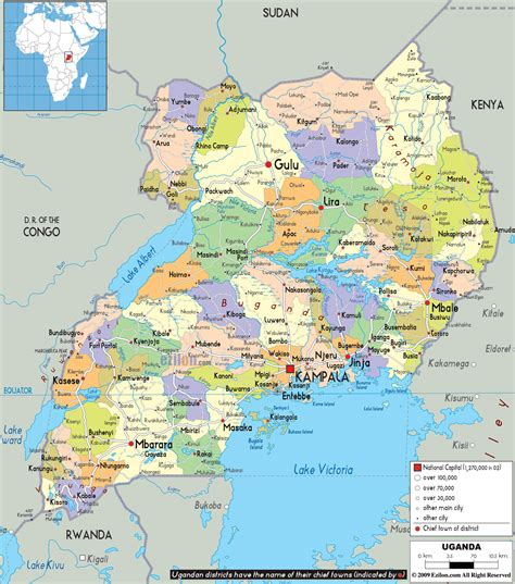all maps large detailed administrative map of uganda with all