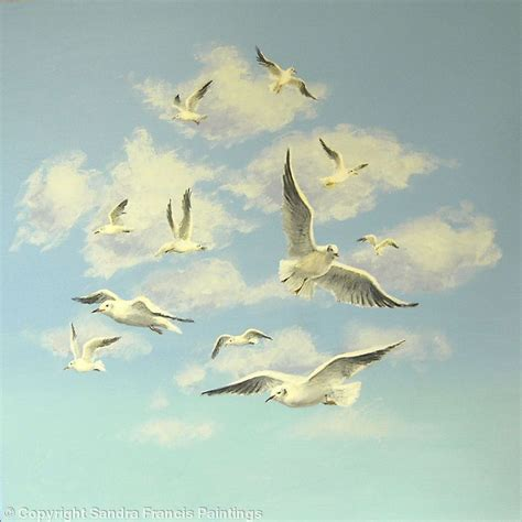acrylic painting birds in sky seagull flying painting seagulls flying in the sky