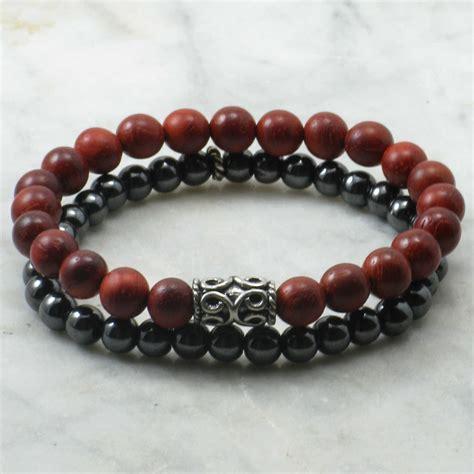 Kamadeva Bracelets for Men   rosewood beads, mala bracelets stacks