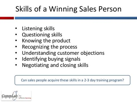 7 must skills for a sales person and the of