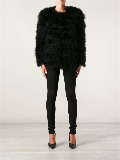 Bechkam Behel 3in1 Handbags Lyst Stine Goya Nebula Ostrich Feather Jacket In Black