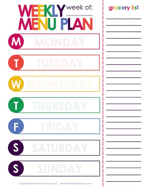 weekly meal menu template weekly dinner meal planner free printable included